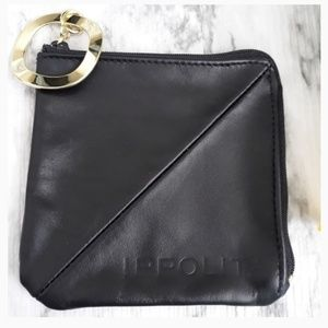 IPPOLITA Black Zippered Key Ring Coin Purse